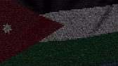 jordanian : Waving flag of Jordan made of text symbols on a computer screen. Conceptual loopable animation Stock Footage