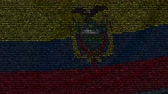 equador : Waving flag of Ecuador made of text symbols on a computer screen. Conceptual loopable animation Stock Footage