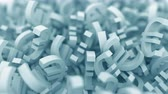forex : Pile of blue euro symbols. 3D animation Stock Footage
