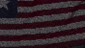 편지 : Waving flag of Liberia made of text symbols on a computer screen. Conceptual loopable animation 무비클립