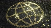 součet : World or Earth globe icon made of gold numbers. Global digital technology related animation