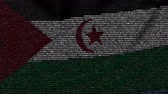list : Waving flag of Sahrawi Arab Democratic Republic made of text symbols on a computer screen. Conceptual loopable animation