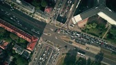 asfalt : Aerial top down view time lapse of busy city intersection