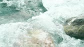 mediterranean sea : Slow motion shot of sea surf splashing on rocks Stock Footage