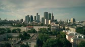 kia : WARSAW, POLAND - AUGUST 7, 2018. Aerial establishing shot of the city