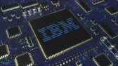 hatıralar : Computer printed circuit board or PCB with IBM logo. Conceptual editorial 3D animation