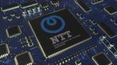 stampati : Circuito stampato o PCB computerizzato con logo Japan Telegraph and Telephone Corporation NTT. Animazione 3D editoriale concettuale