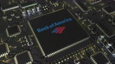 mikroişlemci : Computer printed circuit board or PCB with Bank of America Corporation logo. Conceptual editorial 3D animation