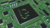 rublo : Russian ruble symbol on operating chipset Filmati Stock