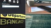 collage : Flight to Bangkok. Traveling to Thailand conceptual montage animation Stock Footage