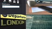 collage : Flight to London. Traveling to the United Kingdom conceptual montage animation