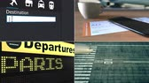 colagem : Flight to Paris. Traveling to France conceptual montage animation