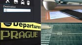 praga : Flight to Prague. Traveling to the Czech Republic conceptual montage animation Vídeos