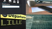 направления : Flight to Lille. Traveling to France conceptual montage animation