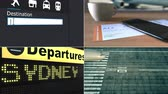 colagem : Flight to Sydney. Traveling to Australia conceptual montage animation