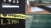 направления : Flight to Lima. Traveling to Peru conceptual montage animation