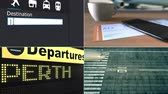 collage : Flight to Perth. Traveling to Australia conceptual montage animation