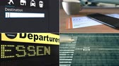 направления : Flight to Essen. Traveling to Germany conceptual montage animation
