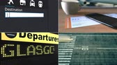 collage : Flight to Glasgow. Traveling to the United Kingdom conceptual montage animation Stock Footage