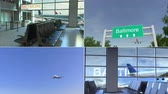 collage : Trip to Baltimore. Airplane arrives to the United States conceptual montage animation Stock Footage
