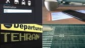 havayolu : Flight to Tehran. Traveling to Iran conceptual montage animation Stok Video