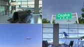 collage : Trip to Osaka. Airplane arrives to Japan conceptual montage animation