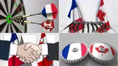 smlouva : France and Canada cooperation. Conceptual animation montage