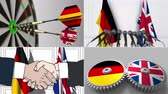 almanca : Germany and the United Kingdom cooperation. Conceptual animation montage Stok Video