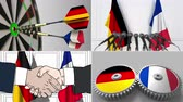smlouva : Germany and France cooperation. Conceptual animation montage
