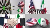 smlouva : United States and Italy cooperation. Conceptual animation montage