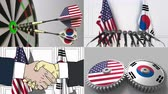 south american : United States and South Korea cooperation. Conceptual animation montage Stock Footage
