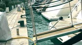 watercraft : Boarding ramps of luxury yachts at marina