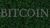 s uvedením : Revealing white word BITCOIN among green blinking dots. Loopable animation