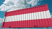 rakomány : Container with flag of Austria. Austrian import or export related conceptual 3D animation Stock mozgókép