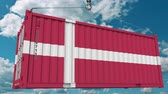 danish : Cargo container with flag of Denmark. Danish import or export related conceptual 3D animation
