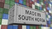 forwarder : Container with MADE IN SOUTH KOREA caption. Korean import or export related loopable animation