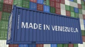 venezuela : Loading container with MADE IN VENEZUELA caption. Venezuelan import or export related loopable animation