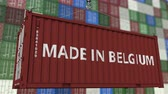belga : Cargo container with MADE IN BELGIUM caption. Belgian import or export related loopable animation Vídeos