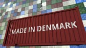 danish : Container with MADE IN DENMARK caption. Danish import or export related loopable animation Stock Footage