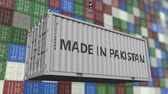 доставлять : Container with MADE IN PAKISTAN caption. Pakistani import or export related loopable animation