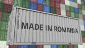 resim yazı : Loading container with MADE IN ROMANIA caption. Romanian import or export related loopable animation