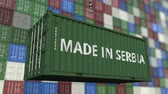 resim yazı : Loading container with MADE IN SERBIA caption. Serbian import or export related loopable animation