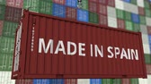 forwarder : Loading container with MADE IN SPAIN caption. Spanish import or export related loopable animation Stock Footage