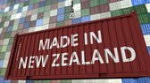 resim yazı : Cargo container with MADE IN NEW ZEALAND caption. Import or export related loopable animation