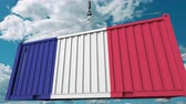 tara : Loading cargo container with flag of France. French import or export related conceptual 3D animation