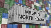 guindastes : Cargo container with MADE IN NORTH KOREA caption. Korean import or export related loopable animation
