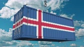 доставлять : Loading cargo container with flag of Iceland. Icelandic import or export related conceptual 3D animation