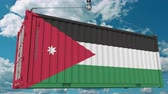 jordanian : Loading cargo container with flag of Jordan. Jordanian import or export related conceptual 3D animation Stock Footage