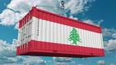 libano : Container with flag of Lebanon. Lebanese import or export related conceptual 3D animation