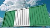 guindastes : Cargo container with flag of Nigeria. Nigerian import or export related conceptual 3D animation